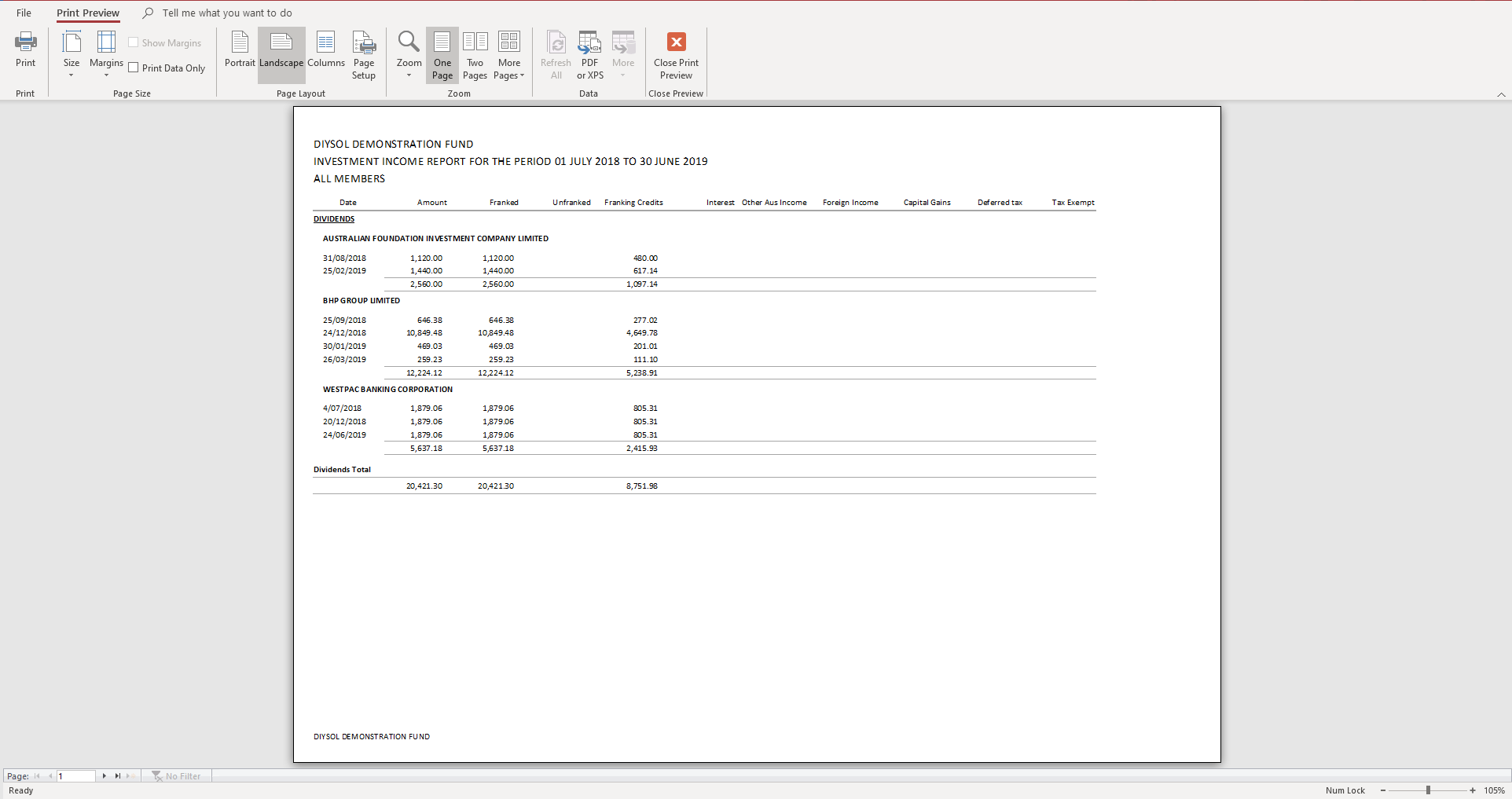 Investment Income Report